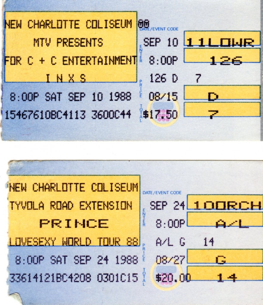 1988 ticket stubs: $17.50 for INXS and $20 for Prince (Lovesexy tour)