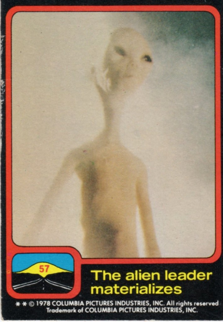 Close Encounters trading card: The alien leader materializes.
