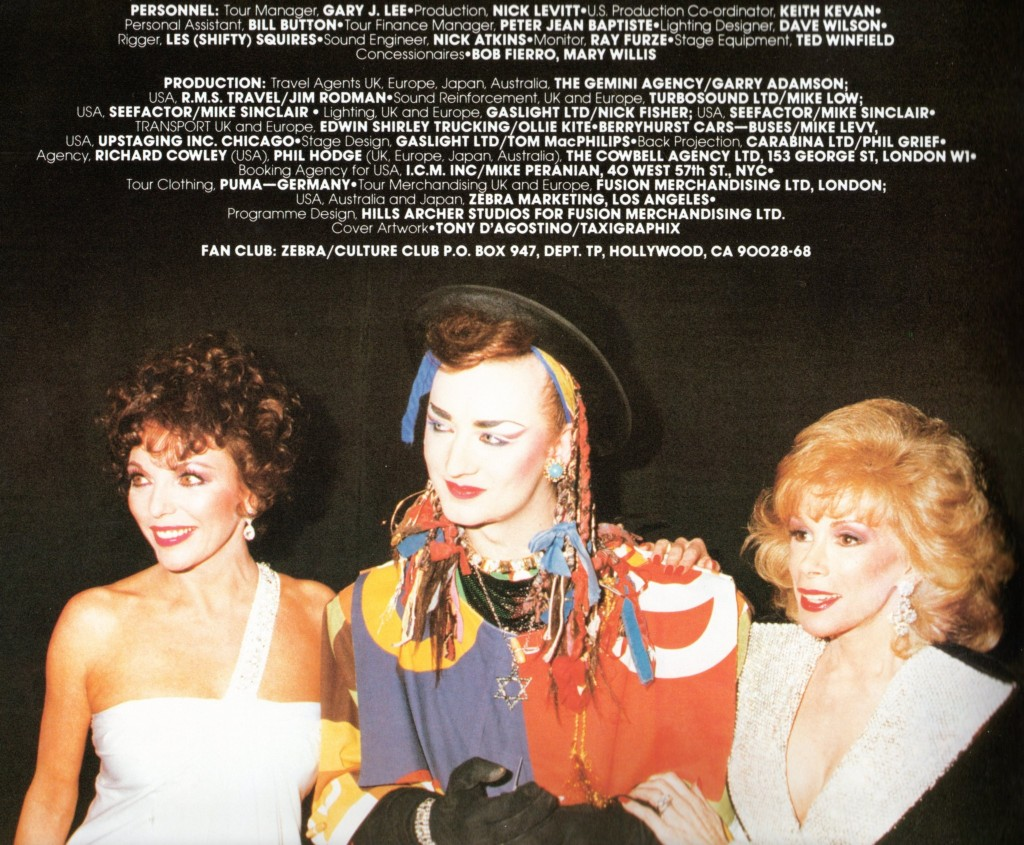 Joan Collins, Boy George, and Joan Rivers