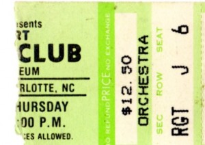 Ticket stub from A Kiss Across the Ocean tour stop at Charlotte, NC