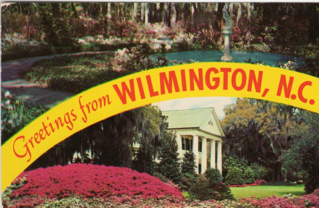 Wilmington, NC, postcard showing Airlie Gardens and Orton Plantation