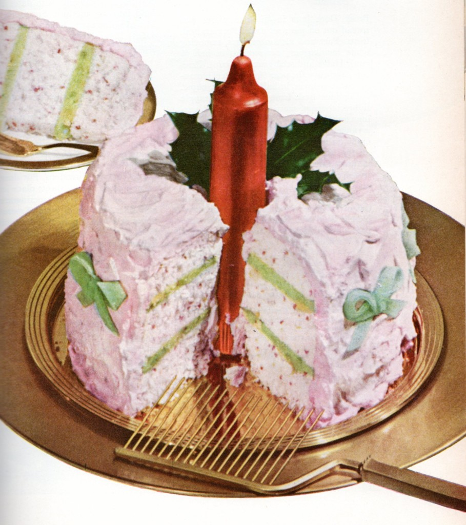 Christmas Candle Cake cut to show bright green filling