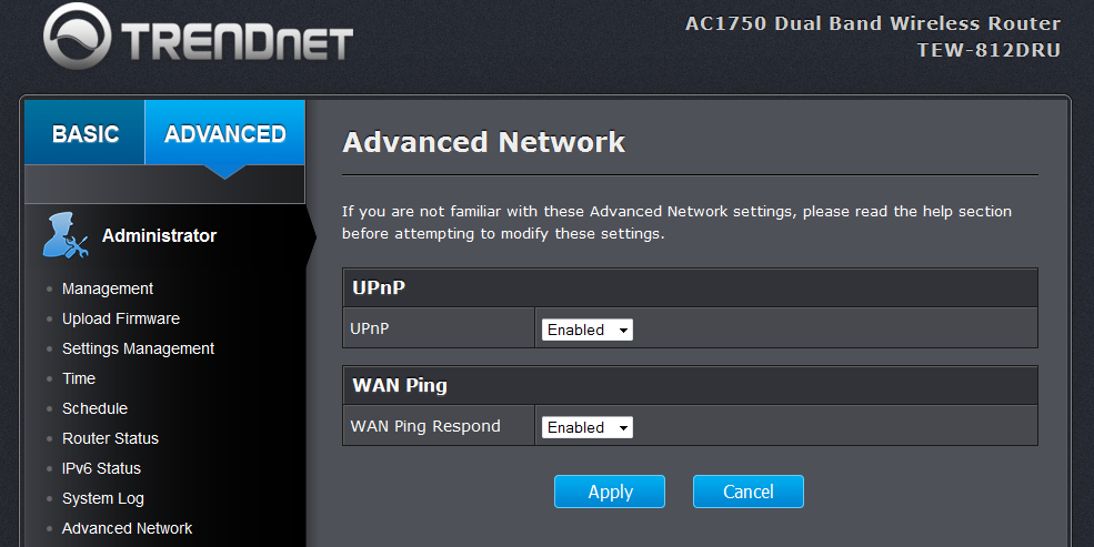 UPnP setting enabled in router settings