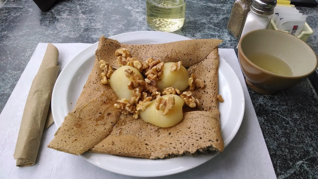 Buckwheat crepe with goat cheese, walnuts, pears, and honey