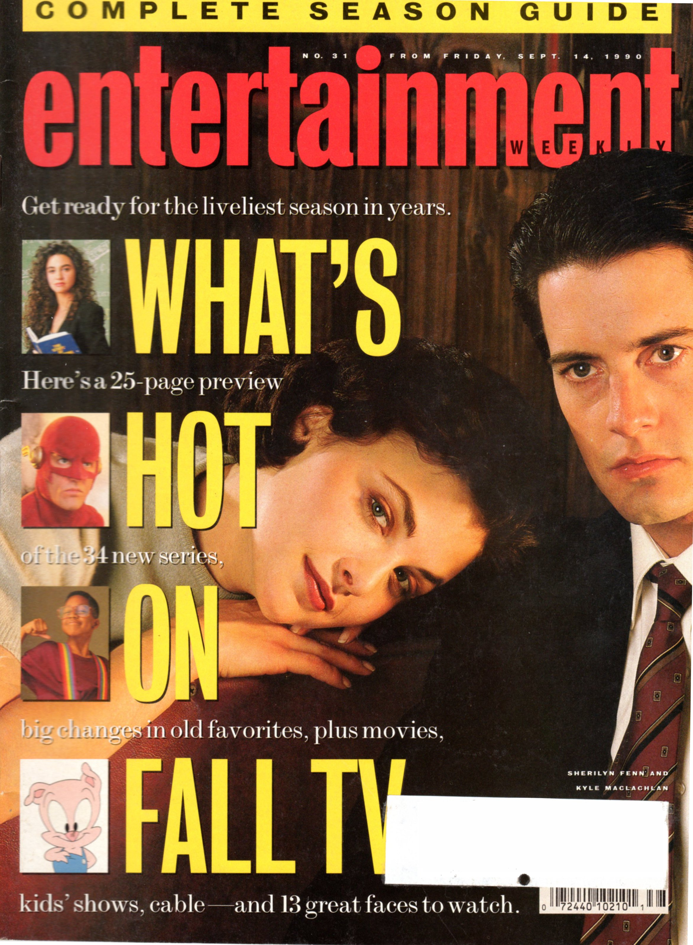 cover of Entertainment Weekly magazine showing Kyle MacLachlan and Sherilyn Fenn