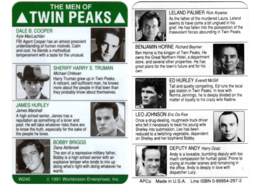 Card showing male characters on Twin Peaks