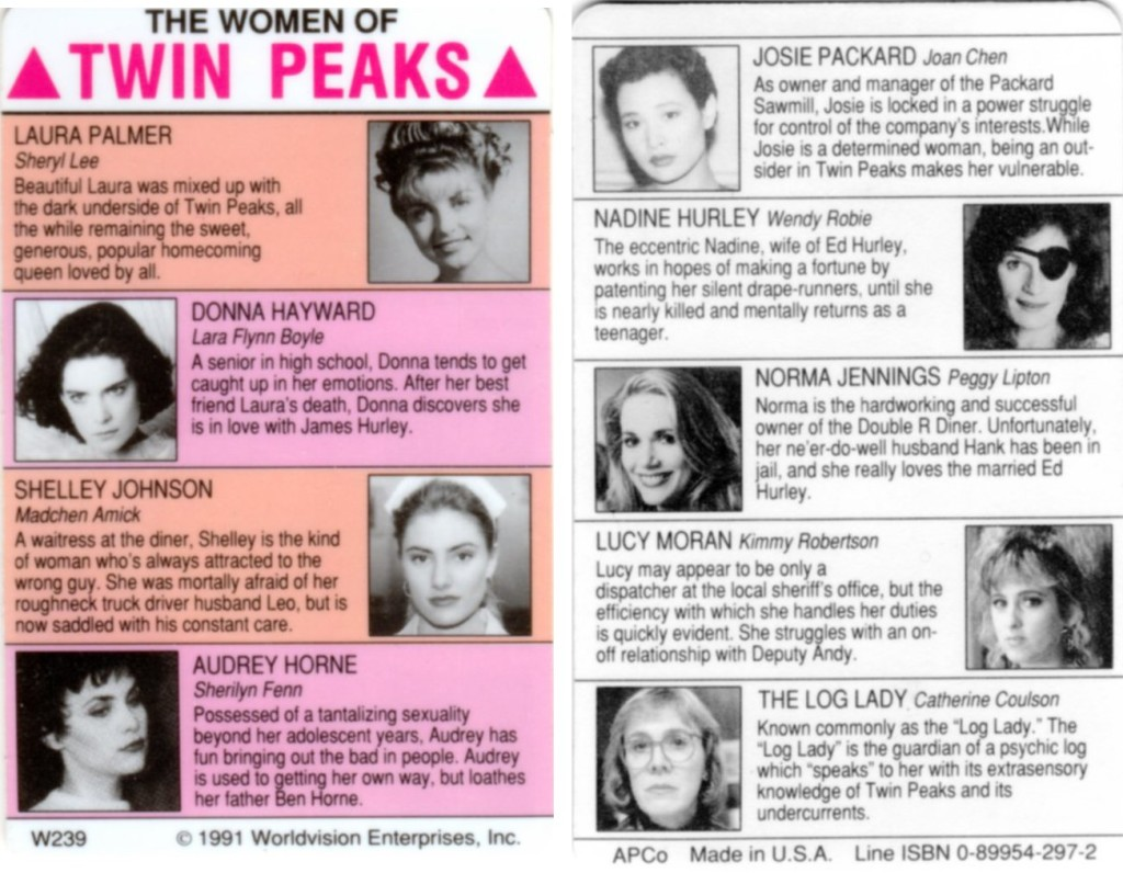 Card showng female characters on Twin Peaks