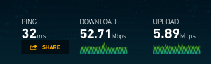 52.71 Mbps download, 5.89 Mbps upload